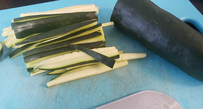 cutting cucumbers
