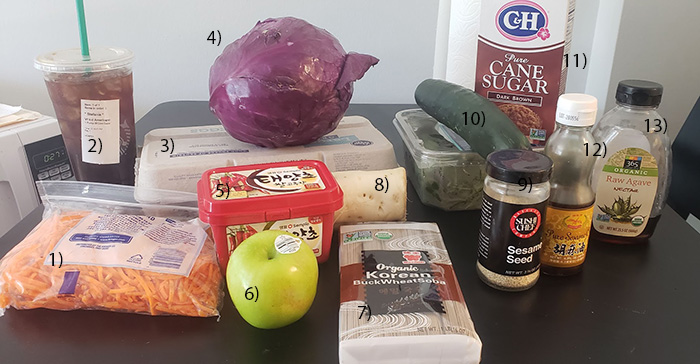 ingredients for cold buckwheat noodles